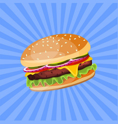 hamburger with cheese tomato and salad vector image vector image
