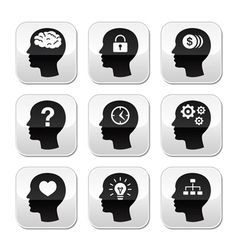 Head brain buttons set vector image