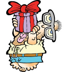 Man offering a present RGB vector image vector image