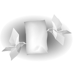 Paper birds with letter vector image vector image
