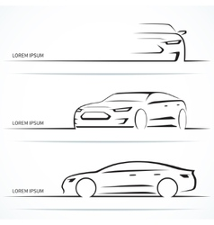 Set of luxury car silhouettes vector image vector image