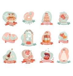 Wedding marriage engagement emblems stickers set vector image vector image