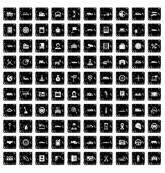 100 auto icons set grunge style vector