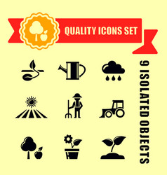 Agriculture or garden icons with red tape vector