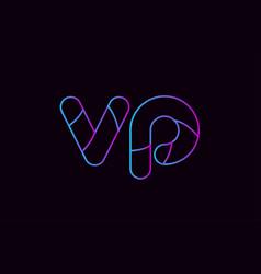 Alphabet letter combination vp v p logo company vector