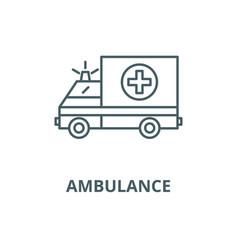ambulance line icon outline concept vector image