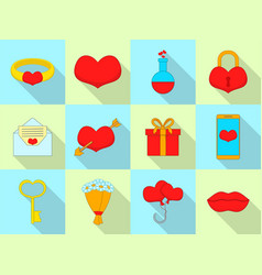 amour icons set flat style vector image