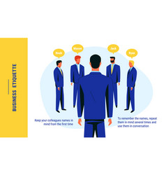 An advice which is related to business etiquette vector