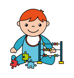 Baby boy abacus puzzles toys vector