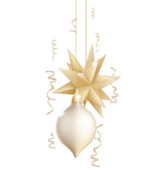 Beautiful gold and white christmas baubles vector