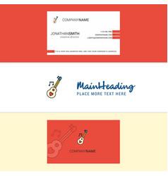 beautiful love guitar logo and business card vector image