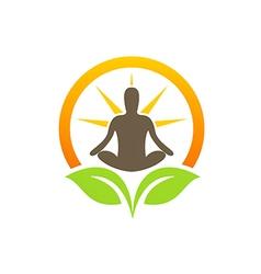 Bio plant leaf healing meditation yoga logo vector