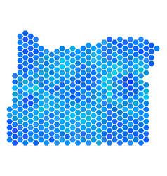 Blue hexagon oregon state map vector