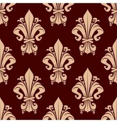 Brown vintage fleur-de-lis floral pattern vector