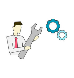 businessman holding big wrench line vector image