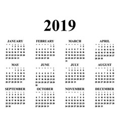 calendar for the year 2019 vector image