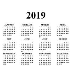 calendar for year 2019 vector image
