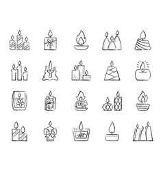 Candle flame charcoal draw line icons set vector