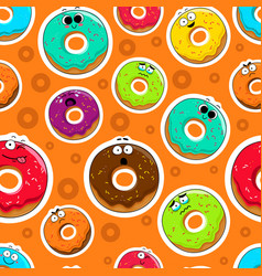 cartoon donut cute character face background vector image
