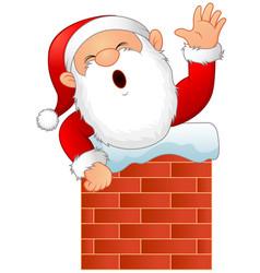 Cartoon santa claus in chimney vector