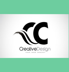 Cc c c creative brush black letters design with vector