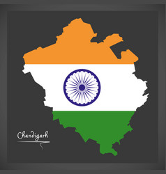 chandigarh map with indian national flag vector image