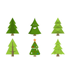 Christmas tree collection spruce icons with decor vector
