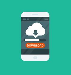 cloud computing app - download progress bar vector image