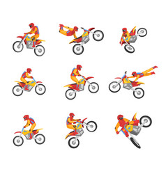 collection of motorcyclist driving motorcycle vector image