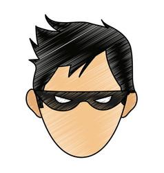 color pencil image cartoon front face hacker vector image