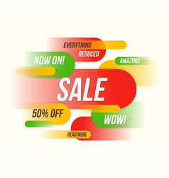 Colorful horizontal fynamic style sale banner vector
