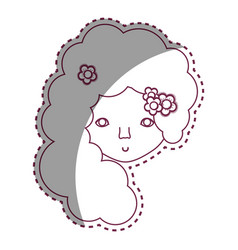 Contour woman face with flower in the hair icon vector