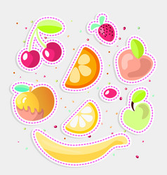 cute cartoon fruit collection sweet fruits icon vector image