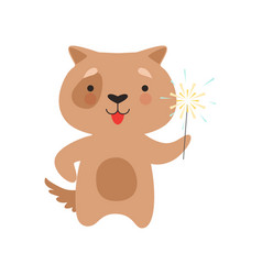 cute dog with a party sparkler lovely cartoon vector image