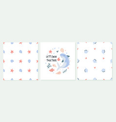 cute set greeting cards in a marine style vector image
