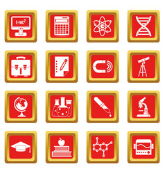 Education icons set red vector