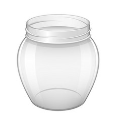 Empty glass jar for home made and jam realistic vector