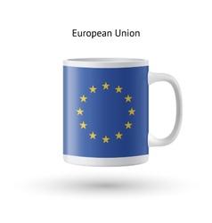 European union flag souvenir mug on white vector