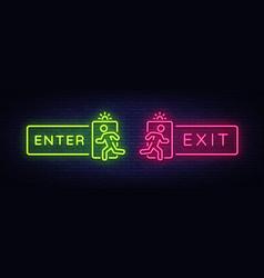 Exit enter neon signs enter design vector