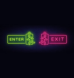 Exit enter neon signs enter exit design vector