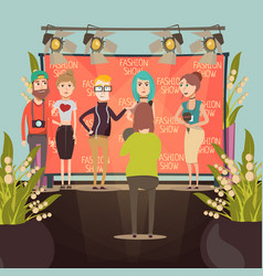 Fashion show interview composition vector