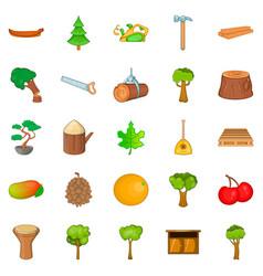 Firewood icons set cartoon style vector