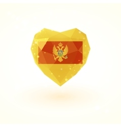 Flag of Montenegro in shape diamond glass heart vector image