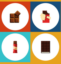 Flat icon bitter set of cocoa shaped box dessert vector
