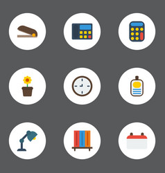 Flat icons bookshop puncher phone and other vector