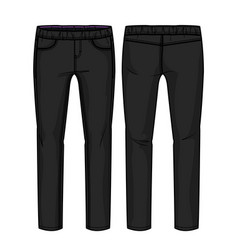 Front and back view black pants with elastic ba vector