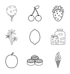 fruit plate icons set outline style vector image