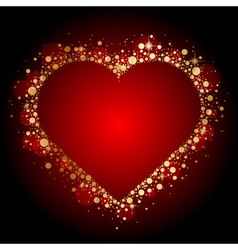 gold shiny heart on red background vector image