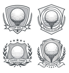 Golf ball crest emblem set vector