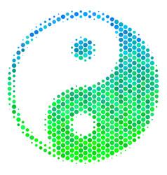 halftone blue-green yin yang icon vector image